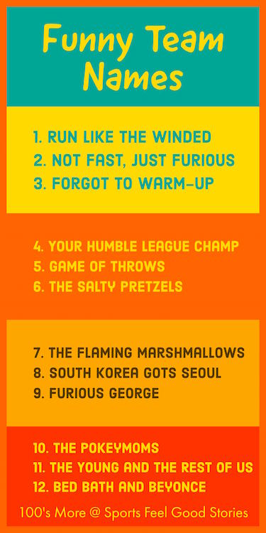 Funny Team Names For Your Squad Or Group Sports Feel